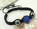 Alloy Rhinestone Bracelet, Hematite with Nylon Cord, grey and Blue